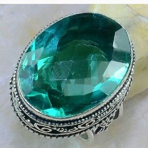 .925 Sterling Sz 7.75 With Green Quartz